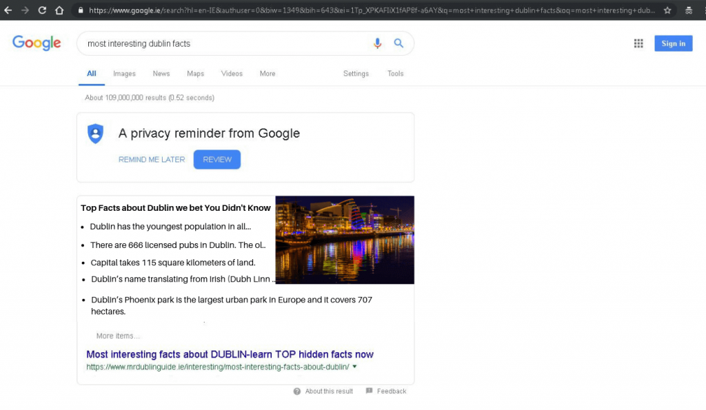 SEO Results featured snippet