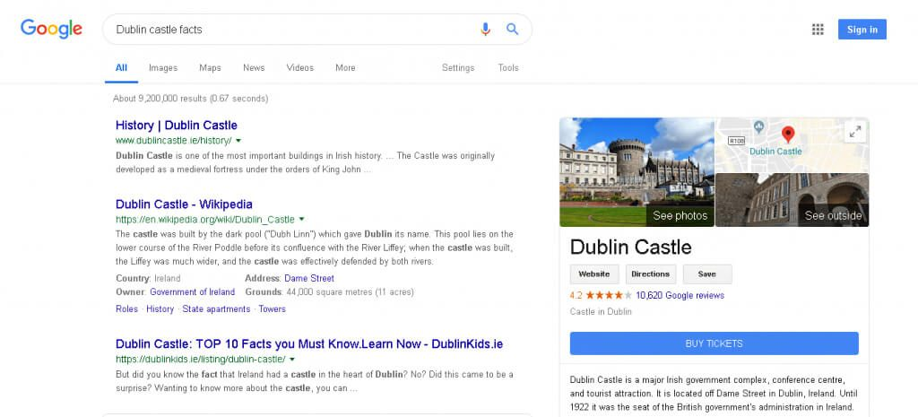 Search-Engine-achieved-results-dublin-castle