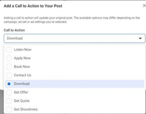 Call To Action Buttons in Facebook Ads