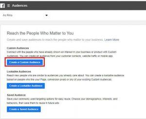 Creating Custom Audience in Facebook Adverts