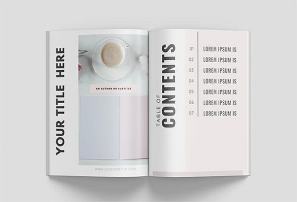 canva book template table of contents page