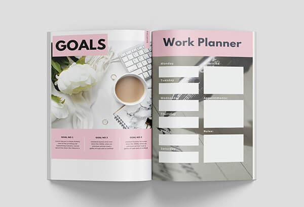 canva workbook templates goals page